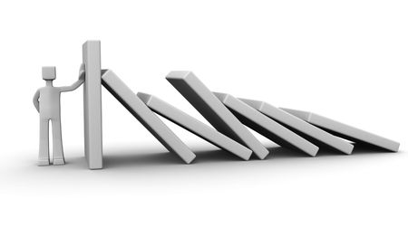 domino: Man supporting the wall to prevent fall with others confident and reliable concept Stock Photo