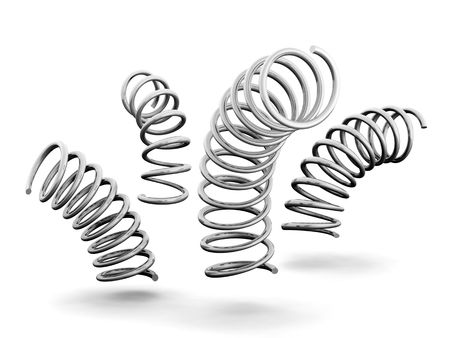 metal spring: Silver spring and dynamic concept 3d isolated illustration