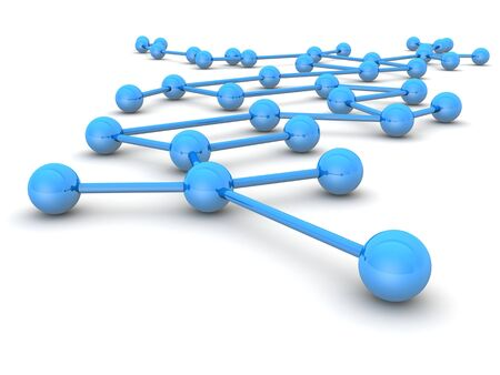 linking: Business network or connection concept white background 3d illustration Stock Photo