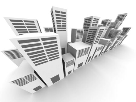 simplified: Simplified of commercial building city view 3d illustration Stock Photo
