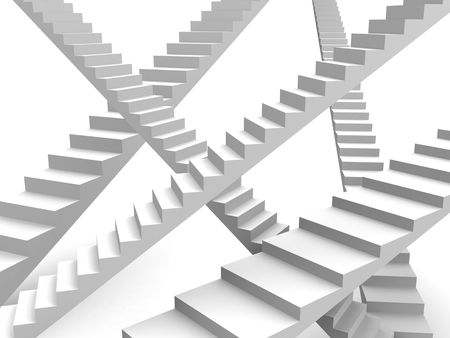 dreamland: Overlapping stairway option and opportunity concept 3d illustration