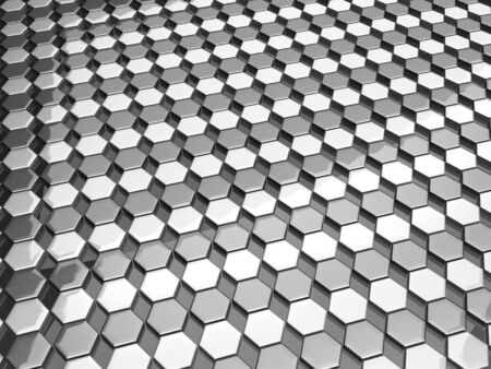 silver background: Hexgon pattern silver background 3d illustration Stock Photo