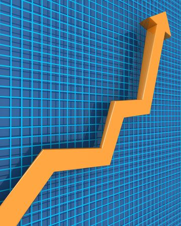 Arrows pointing up to a raising graph 3d illustration Stock Illustration - 6959807