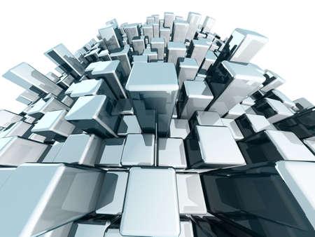 Abstract block urban city view  concept 3d illustration illustration