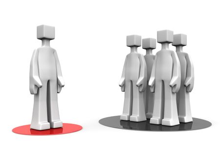 stand out: Man stand out from the crowd different opinion concept 3d illustration