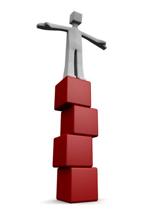 establish: Man standing and balancing on top of four cube block 3d illustration Stock Photo