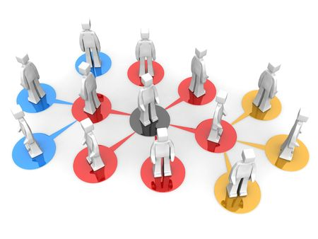 copartnership: Businessman teams network multi level concept 3d illustration