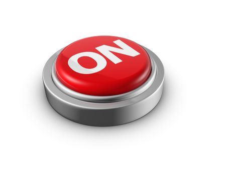 Turn it on concept push button 3d illustration illustration