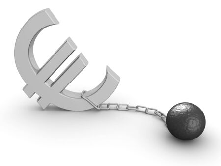Euro currency economy crisis concept 3d illustration illustration