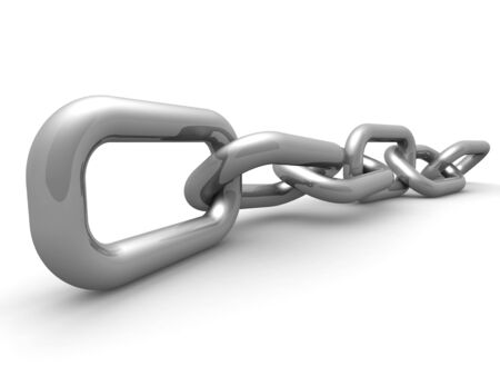 Silver chains connecting and linking concept 3d illustration
