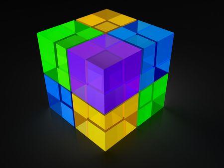 lightbox: Glow in the dark cube lightbox icon 3d illustration