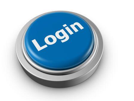 register: Security login concept push button 3d illustration Stock Photo