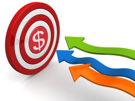 targeting: Arrows aiming dollar sign dartboard targeting concept 3d illustration Stock Photo