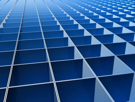 reiteration: Blue square line pattern background 3d illustration Stock Photo