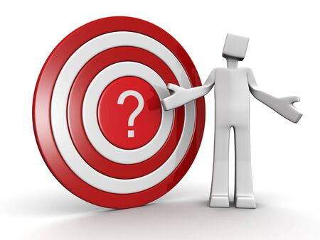 confuse: Depression man with a question mark target dartboard 3d illustration