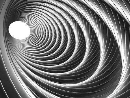 Silver illusion of tunnel effect abstract background 3d illustration illustration