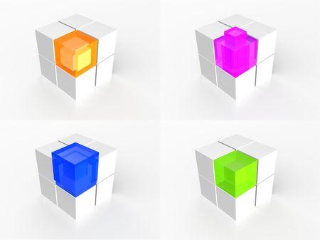 multi colour: Ilustraci�n 3d de icono de cubo de color de multi transparente  Foto de archivo
