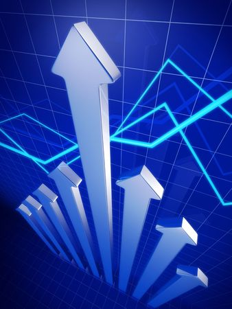 financial analysis: Business financial growth concept arrow pointing up 3d illustration