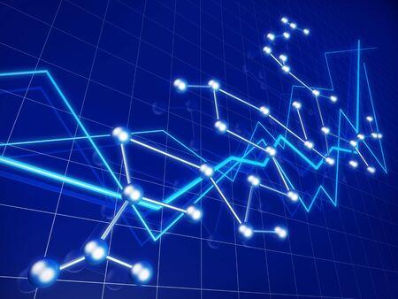 analyse: Affaires financi�res graphique croissance et r�seau concept illustration