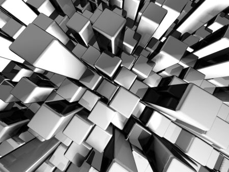 Abstract dynamic metal block background with reflection 3d illustration Stock Photo