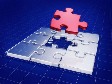 Jigsaw puzzle with business graph background 3d illustration illustration