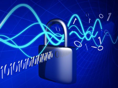 Technology data transfer through a secure lock concept  Stock Photo