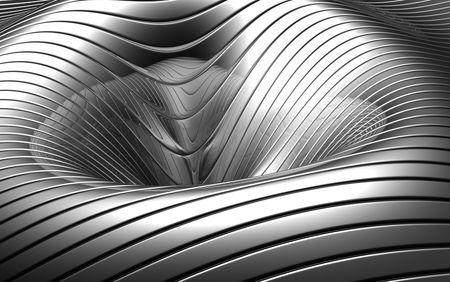 concave: Aluminum abstract silver concave stripe pattern background 3d illustration Stock Photo