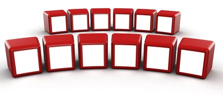 showreel: Red cube frame display image in white space