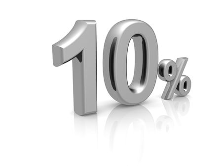 percentage: 10 percents discount symbol with reflection isolated white background