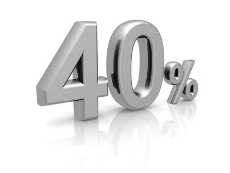 40: 40 percents discount symbol with reflection isolated white background
