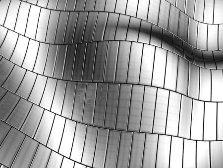 decorration: Aluminum wave shape silver stripe pattern background 3d illustration