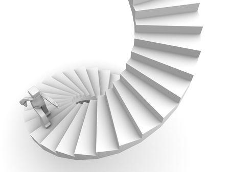 begining: Crescita e successo uomo stepping stairway to sua illustrazione 3d di destinazione
