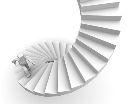 resolute: Growth and success man stepping stairway to his destination 3d illustration Stock Photo
