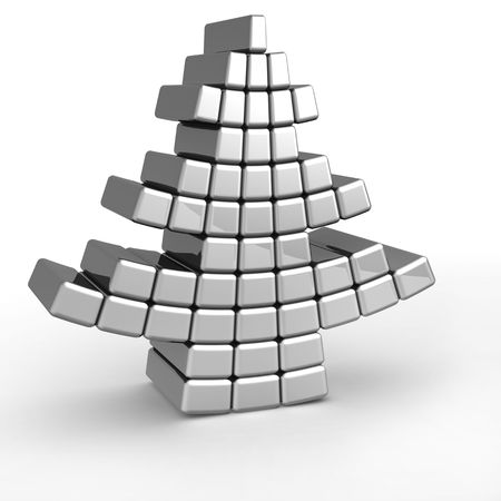 cold steel: Abstract christmas tree form by aluminum square block 3d illustration Stock Photo