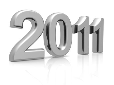 0 1 year: Silver 2011 year with reflection 3d illustration  Stock Photo