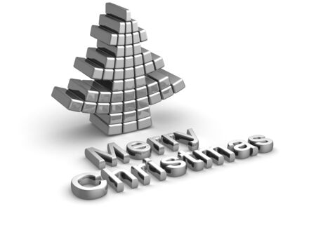 cold steel: Merry christmas word with christmas tree design 3d illustration