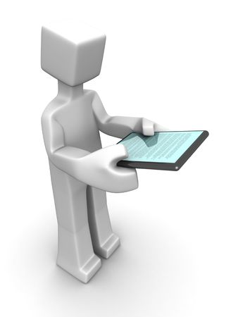 Man holidng and reading a ebook device 3d illustration Stock Illustration - 7454555