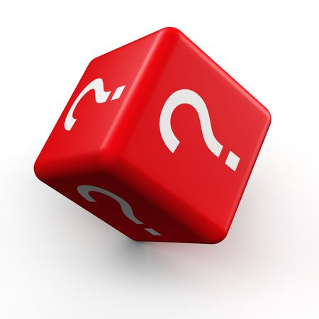to mark: Question mark symbol dice rolling 3d illustration