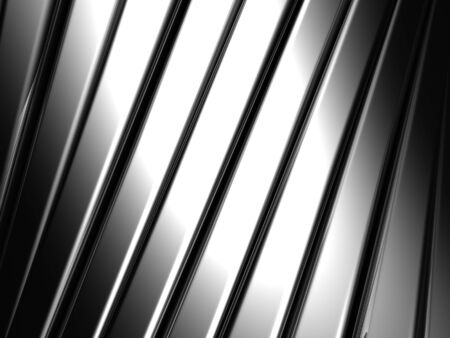 reiteration: Bended silver aluminium stripe background 3d illustration Stock Photo