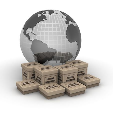 Globe with printed shipping worldwide boxes 3d illustration