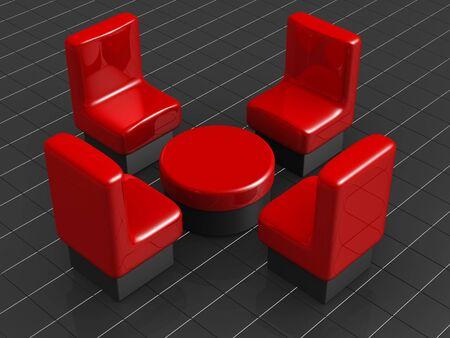 Furniture and interior concept  3d illustration illustration