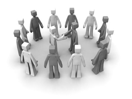 Say no to racism concept handshake between races for peace 3d illustration Stock Illustration - 7547245