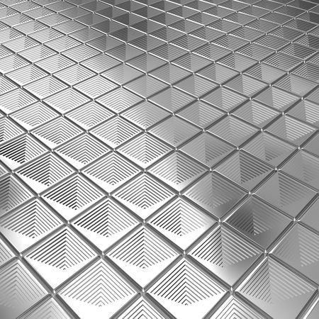 Shiny silver aluminium tile background 3d illustration Stock Illustration - 7615405