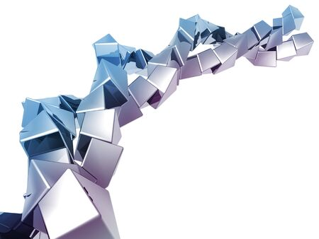 distort: Abstract cube shape background 3d illustration