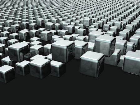 Dynamic cube floating background 3d illustration Stock Illustration - 7615412