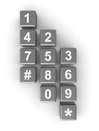 dialplate: Telephone contact number button isolated background 3d illustration Stock Photo