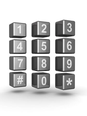 keypad: Telecommunication contact number button isolated background 3d illustration