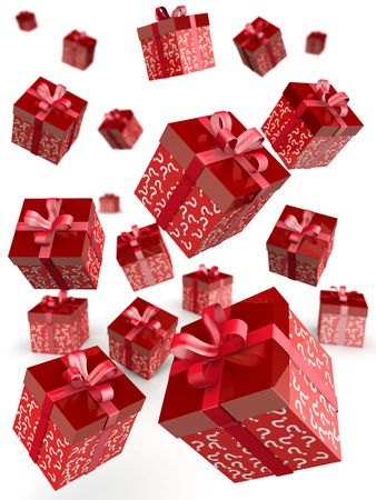 draws: Mystery gift and surprises concept gift box falling with question mark pattern 3d illustration