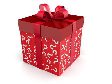 Mystery gift and surprises concept gift box with question mark pattern 3d illustration illustration