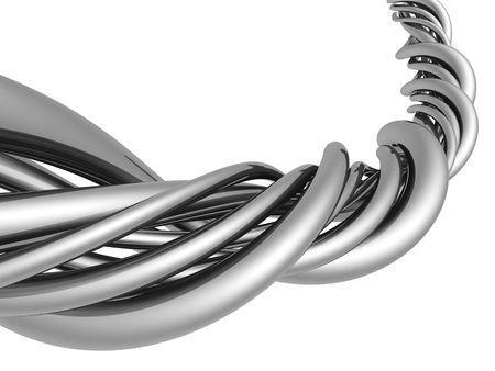 Aluminum abstract silver string artwork background 3d illustration Stock Photo